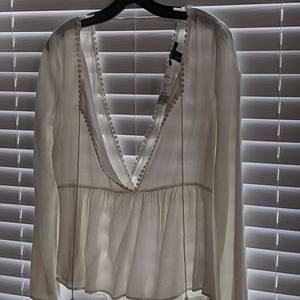 Tops - Forever 21 surplice blouse w/ dot lace detail